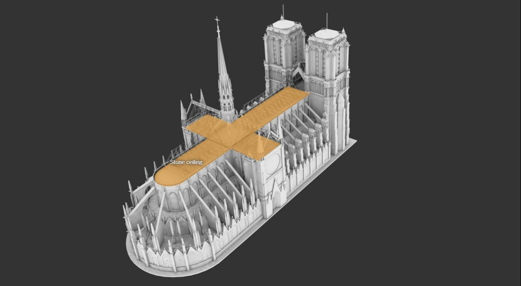 3D Notre Dame de Paris fire events